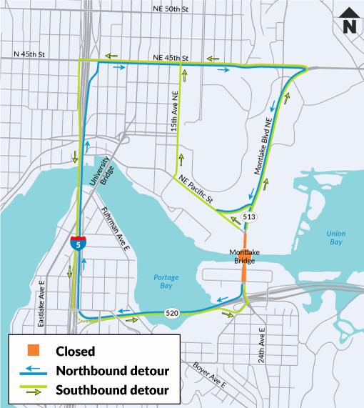 Montlake Bridge Complete Closure for Repairs August 9 – September 3, 2021